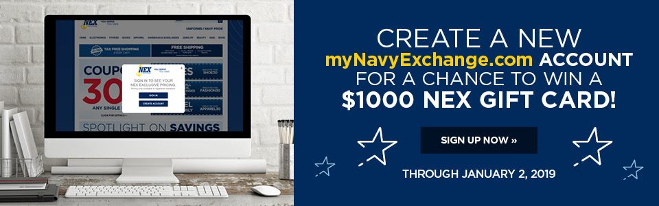 Create an account for a chance to win a $1000 NEX gift card